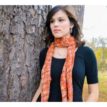 Fiery October Silk Scarf